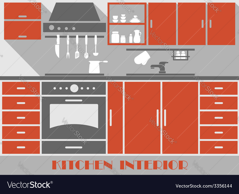 Modern kitchen interior in flat style vector | Price: 1 Credit (USD $1)