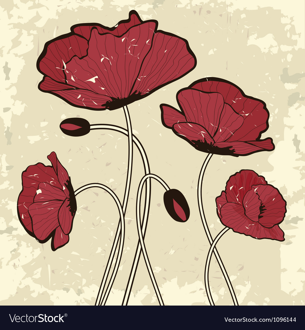 Retro style poppy flowers vector | Price: 1 Credit (USD $1)