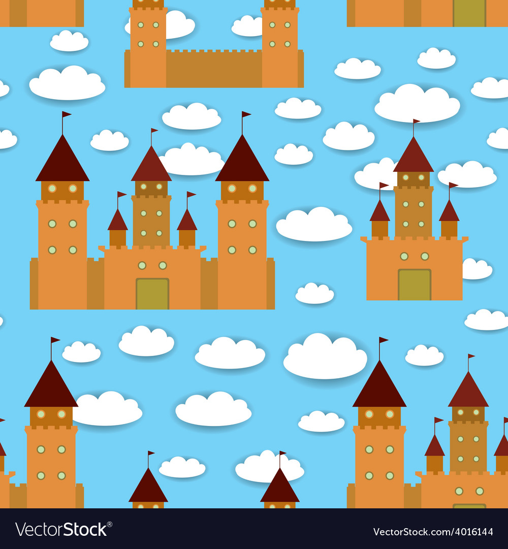 Seamless pattern castle fairytale landscape blue vector | Price: 1 Credit (USD $1)