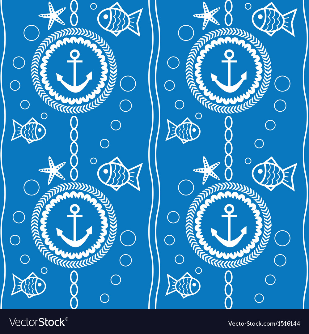 Seamless pattern with a maritime theme vector | Price: 1 Credit (USD $1)