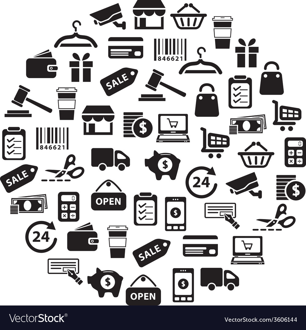 Shopping icons in circle vector | Price: 1 Credit (USD $1)