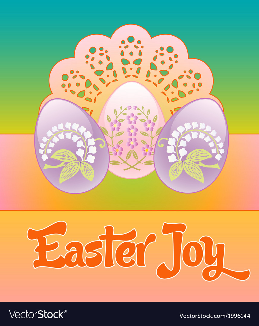 Three pastel decorated floral eggs on a lacy vector | Price: 1 Credit (USD $1)