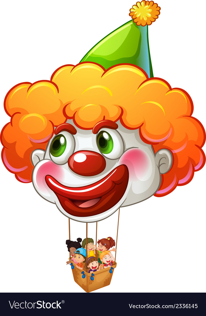 A clown balloon carrying kids vector | Price: 1 Credit (USD $1)