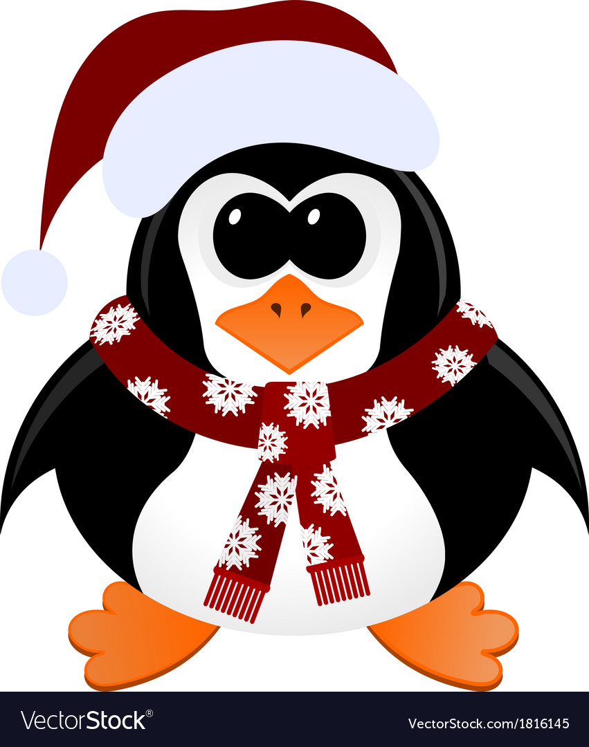 Cartoon penguin with christmas hat and scarf vector | Price: 1 Credit (USD $1)
