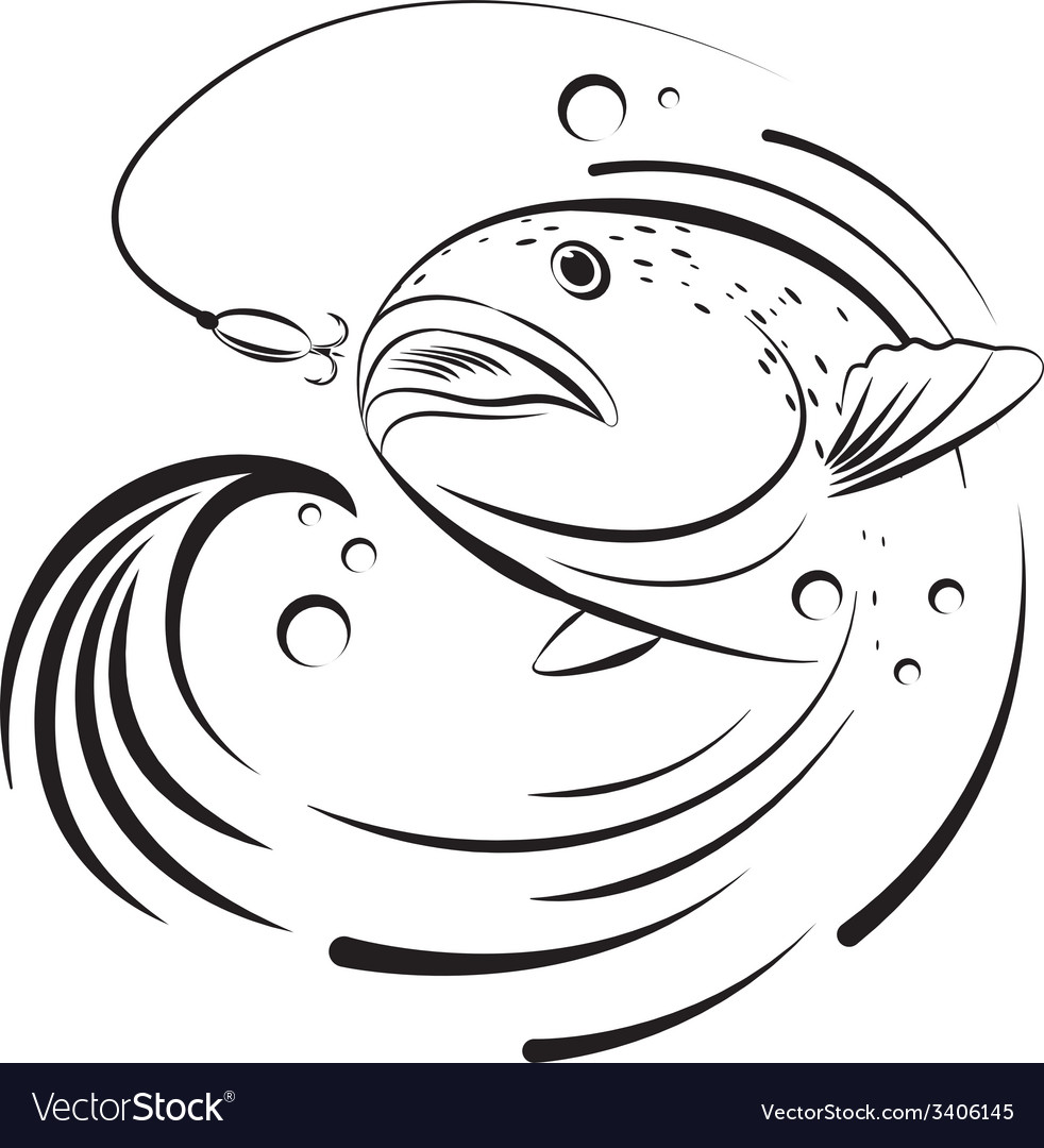 Fish jumping out of the water to grab the bait vector | Price: 1 Credit (USD $1)