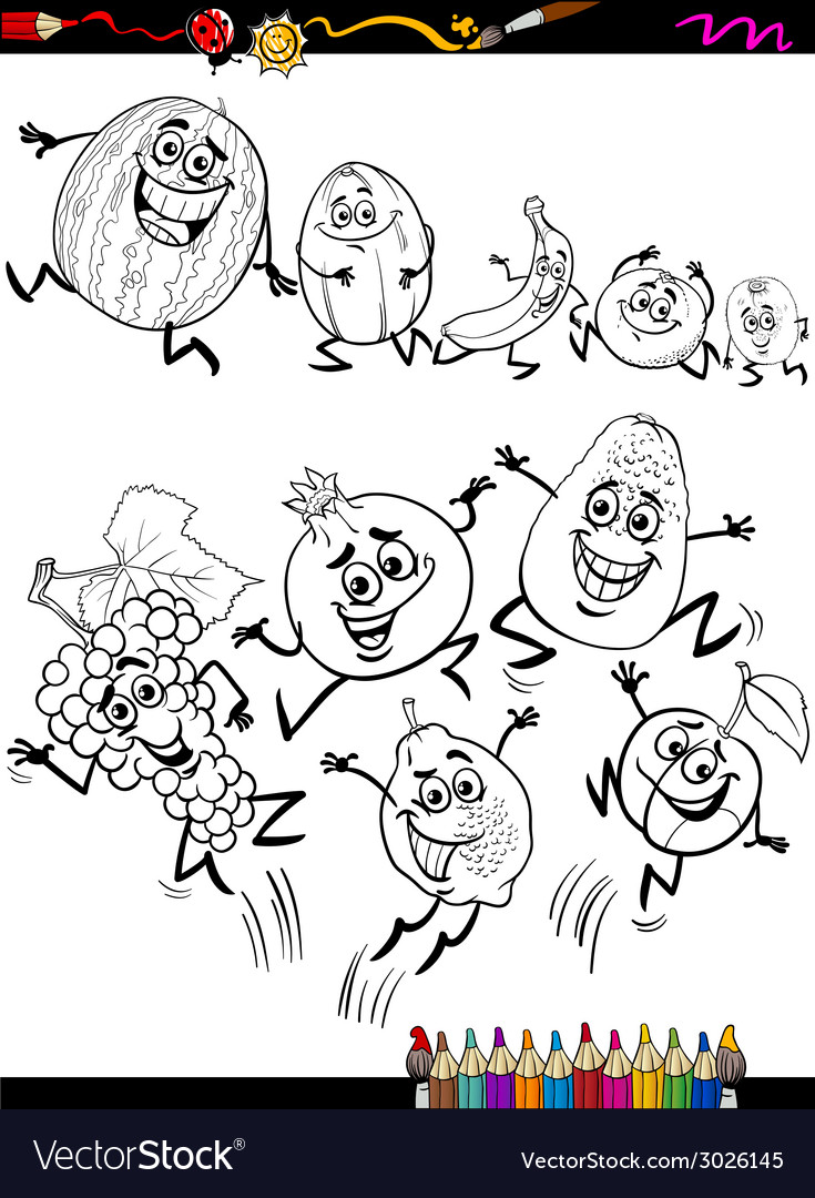 Funny fruits set cartoon coloring page vector | Price: 1 Credit (USD $1)
