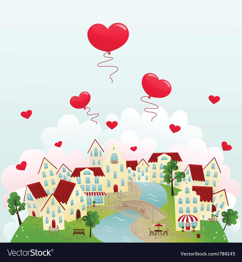 Happy town vector | Price: 1 Credit (USD $1)