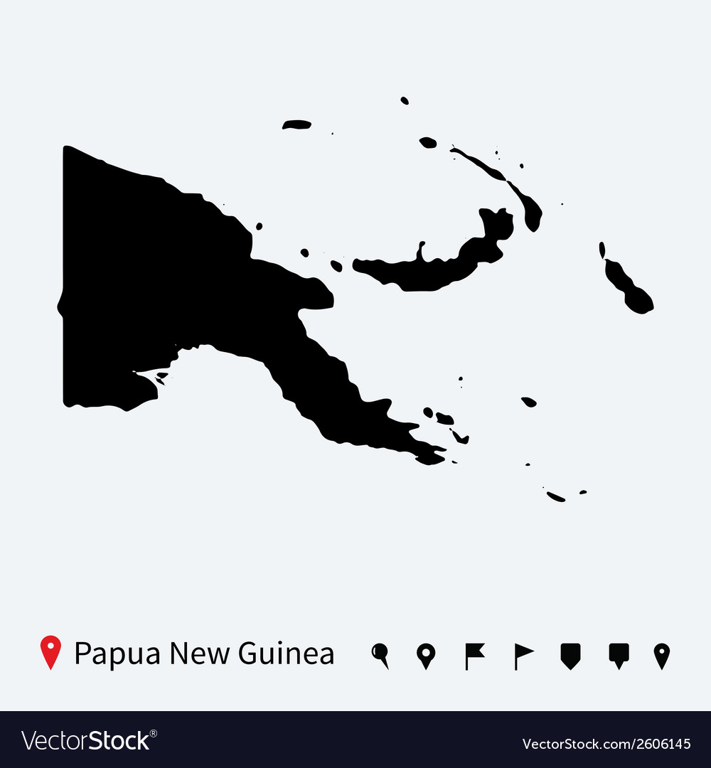 High detailed map of papua new guinea with pins vector | Price: 1 Credit (USD $1)