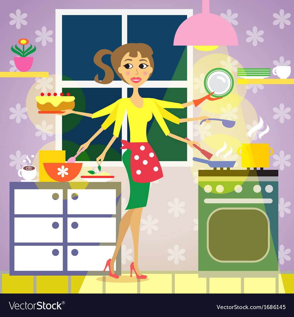 Kitchen woman cuisine vector | Price: 1 Credit (USD $1)
