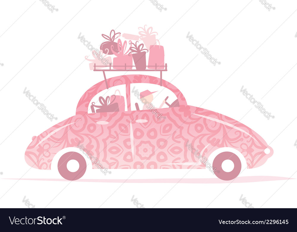 Man driving pink car with gifts on roof vector | Price: 1 Credit (USD $1)