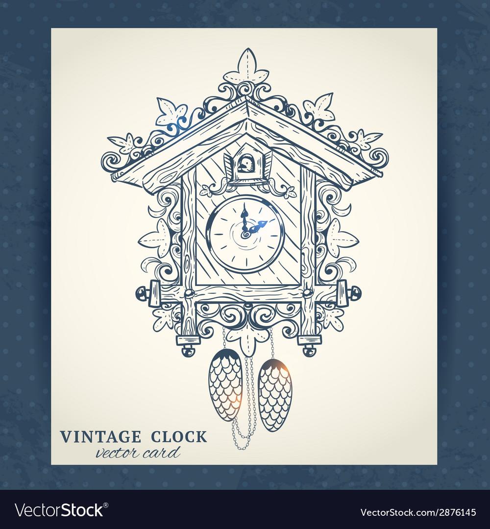 Old retro cuckoo clock postcard vector | Price: 1 Credit (USD $1)