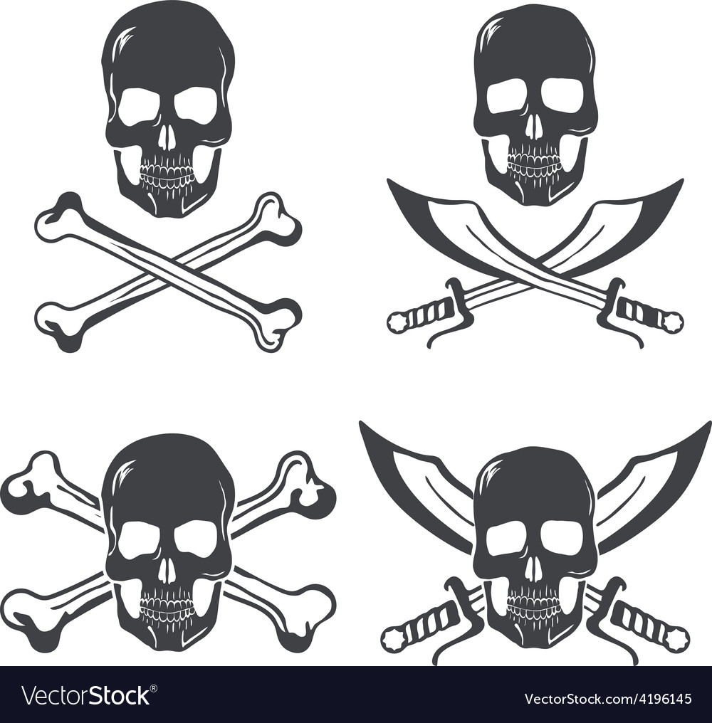 Pirate flag design elements skull with bones and vector | Price: 1 Credit (USD $1)