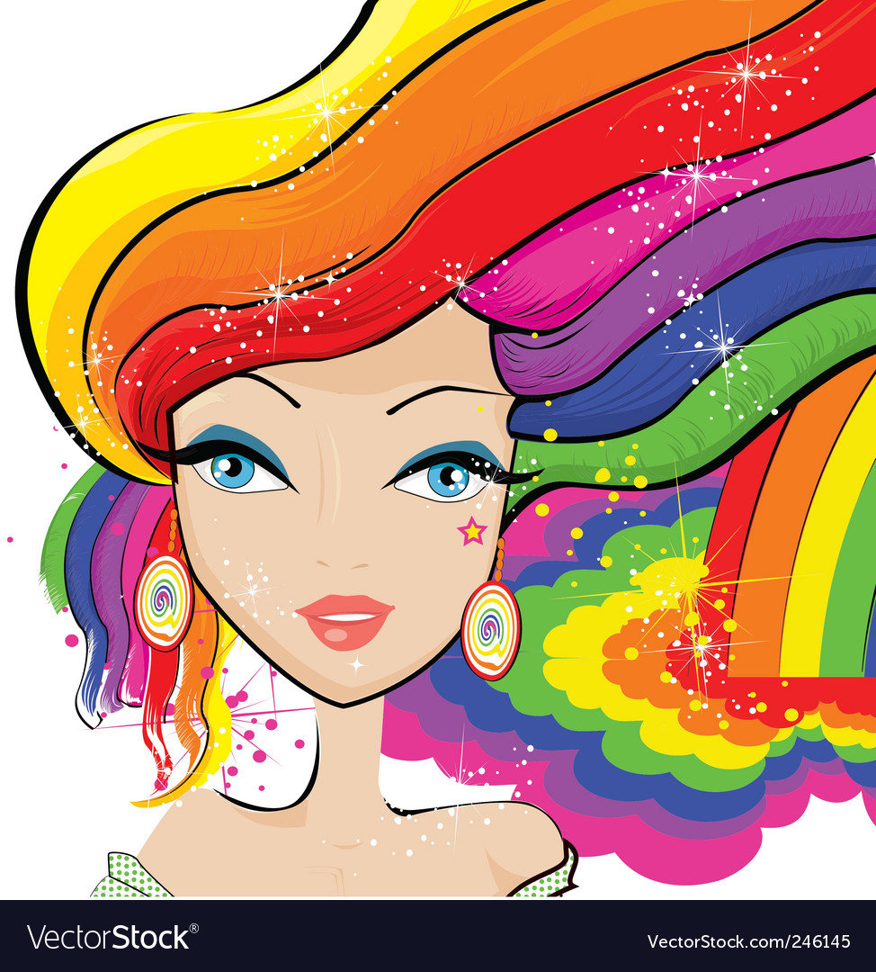 Rainbow hair vector | Price: 1 Credit (USD $1)