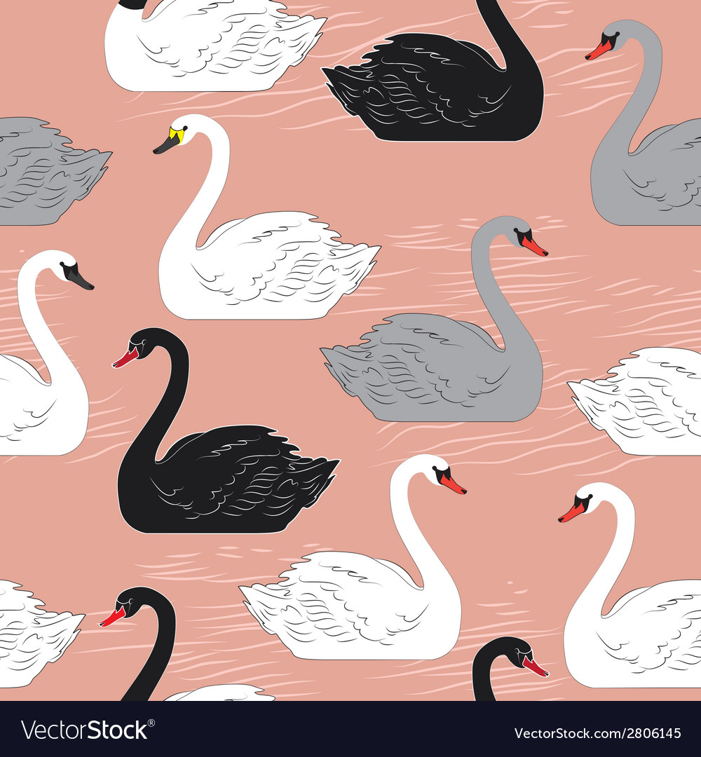 Swans seamless pattern template for design vector | Price: 1 Credit (USD $1)