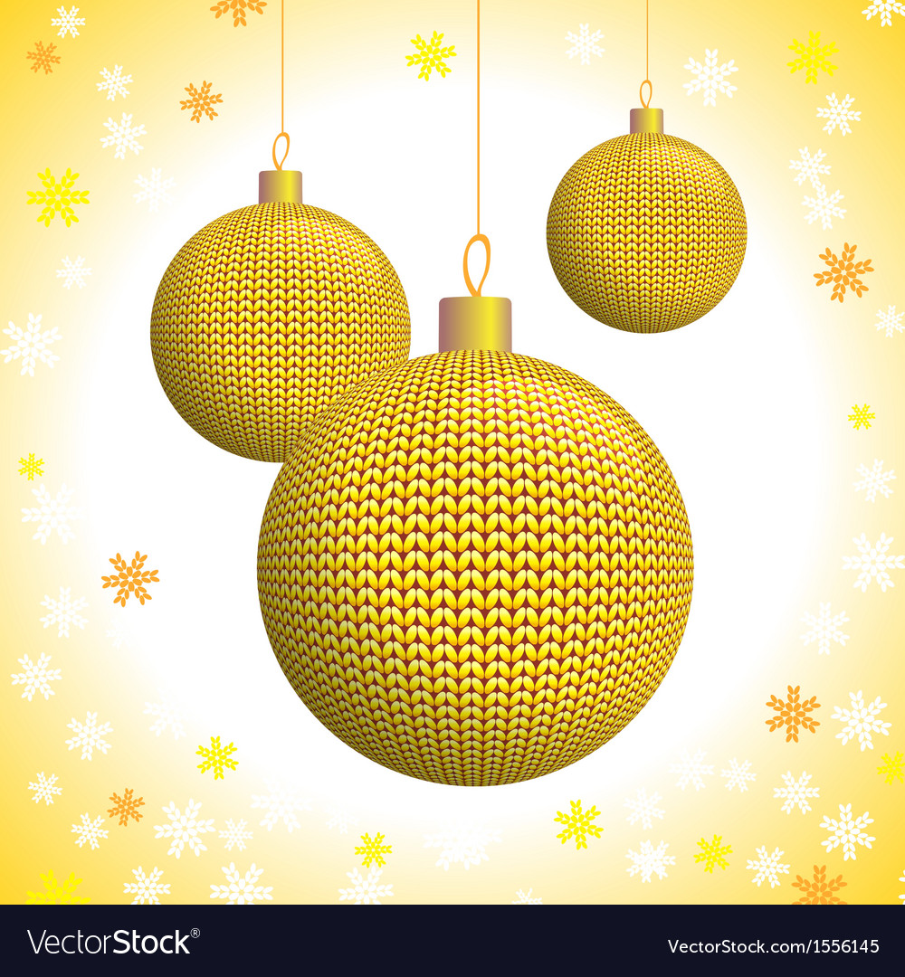 Three gold knitted christmas balls vector | Price: 1 Credit (USD $1)