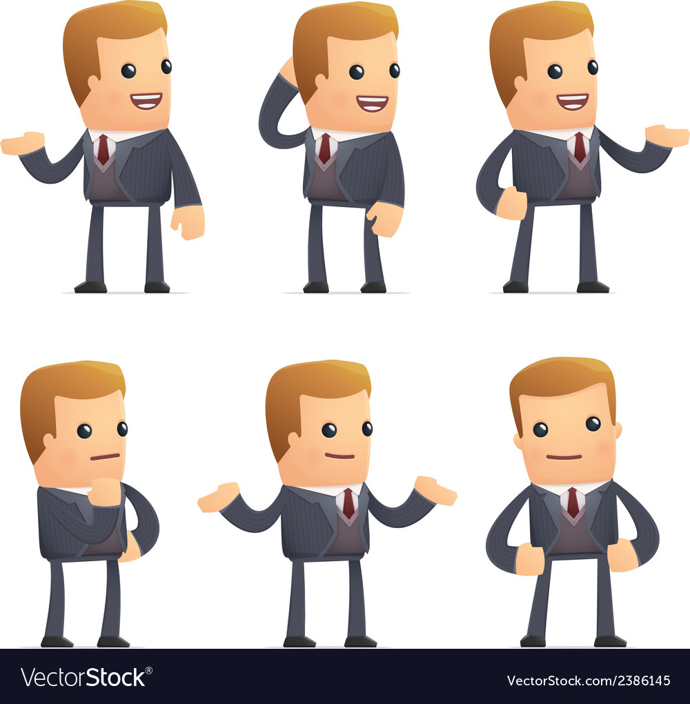 Universal characters in different poses financial vector