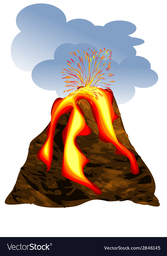 Volcano erupting vector | Price: 1 Credit (USD $1)