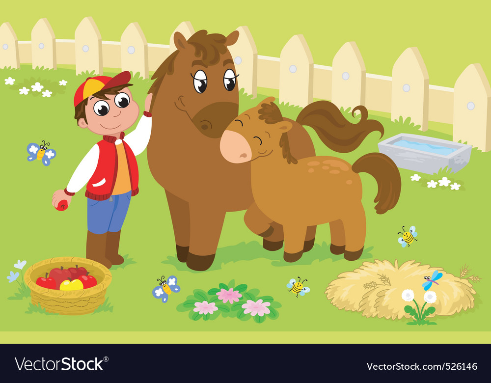 Boy with cute horse and colt vector | Price: 3 Credit (USD $3)