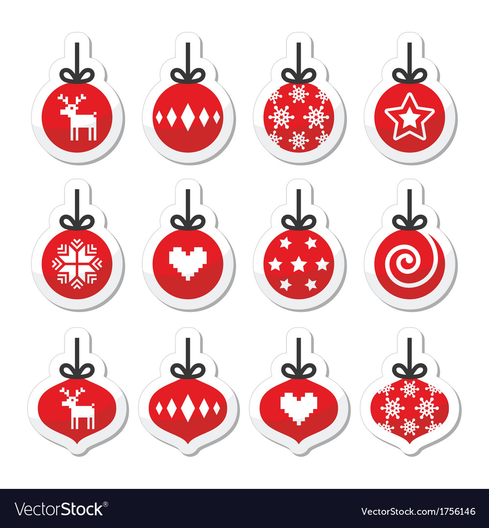 Christmas ball christmas bauble red icons vector | Price: 1 Credit (USD $1)