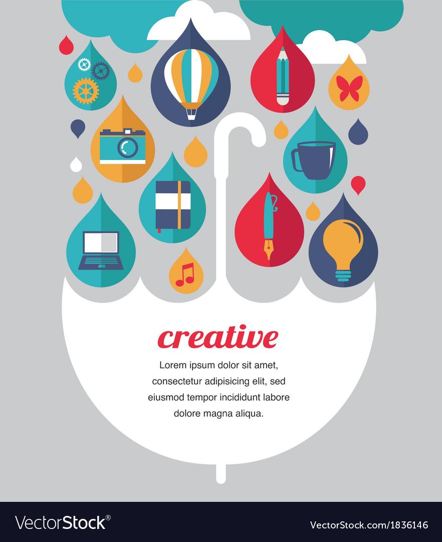 Creative umbrella - idea and design concept vector | Price: 1 Credit (USD $1)