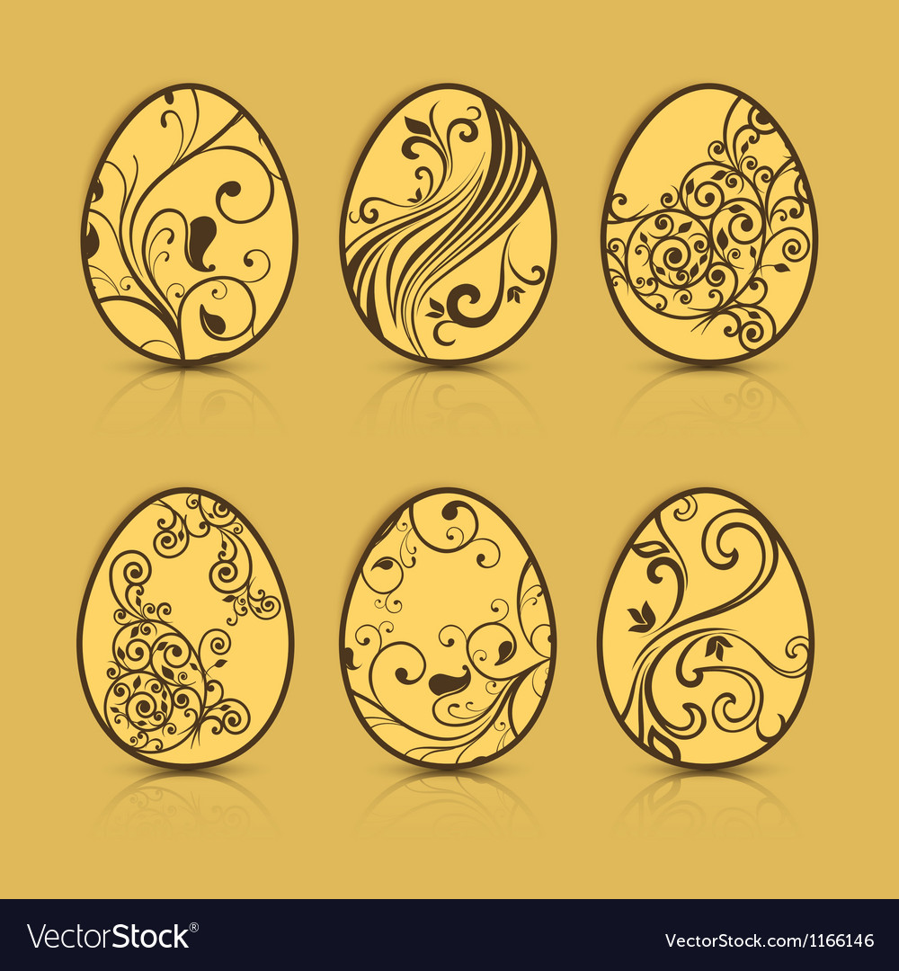 Easter eggs brown patterns 10 v vector | Price: 1 Credit (USD $1)