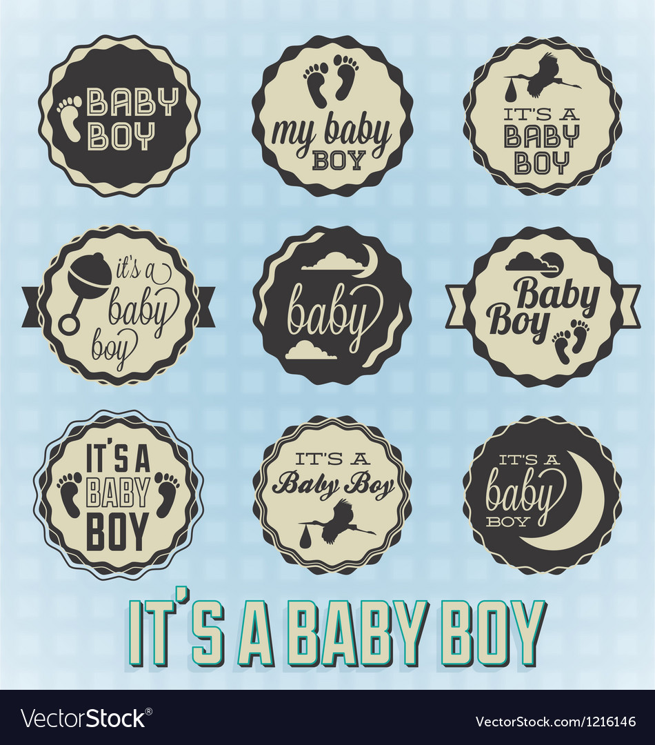 Its a baby boy labels and icons vector | Price: 1 Credit (USD $1)