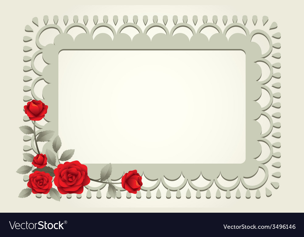 Roses vintage square shape frame and border vector | Price: 1 Credit (USD $1)