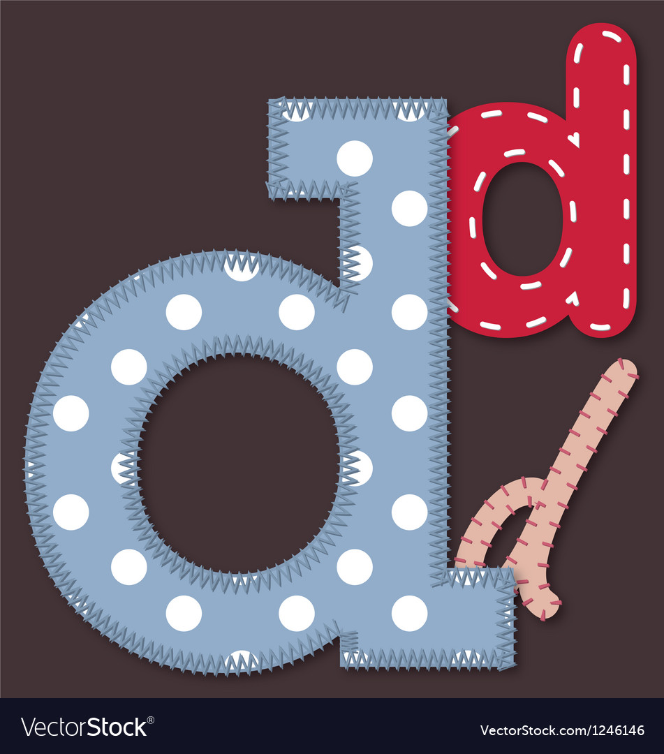 Set of stitched font - letter d vector | Price: 1 Credit (USD $1)