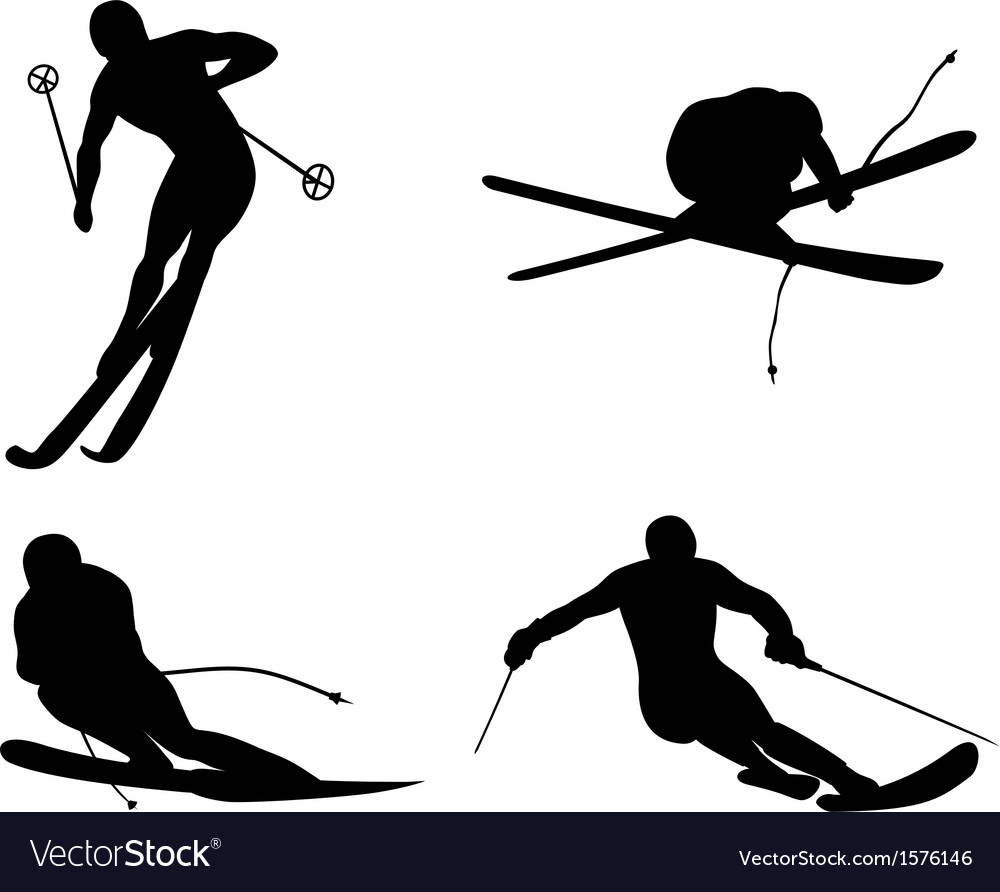 Skiing silhouette vector | Price: 1 Credit (USD $1)