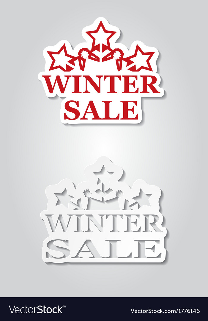Two winter sale stickers with snowflakes vector | Price: 1 Credit (USD $1)