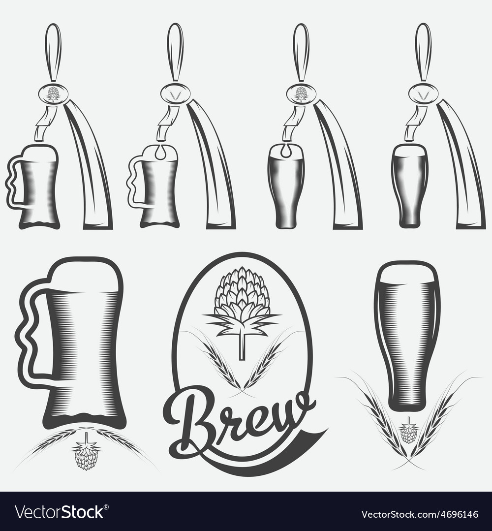 Vintage collection of beer and beer dispensers vector | Price: 1 Credit (USD $1)