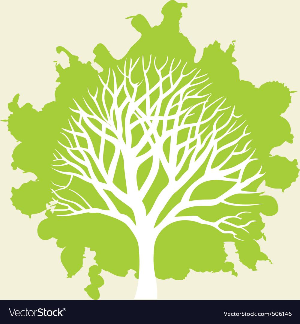 White tree vector | Price: 1 Credit (USD $1)