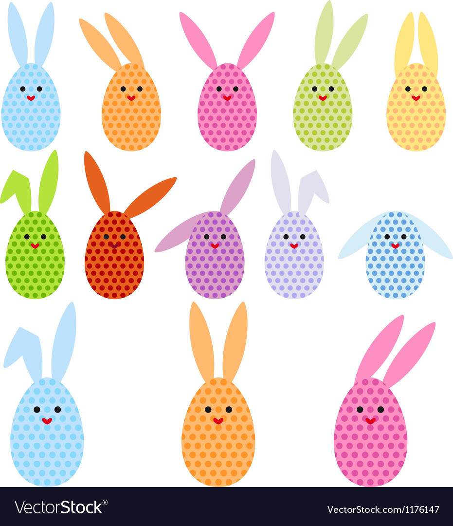 Easter egg bunnies vector | Price: 1 Credit (USD $1)