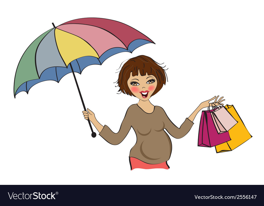 Happy pregnant woman at shopping isolated on white vector | Price: 1 Credit (USD $1)
