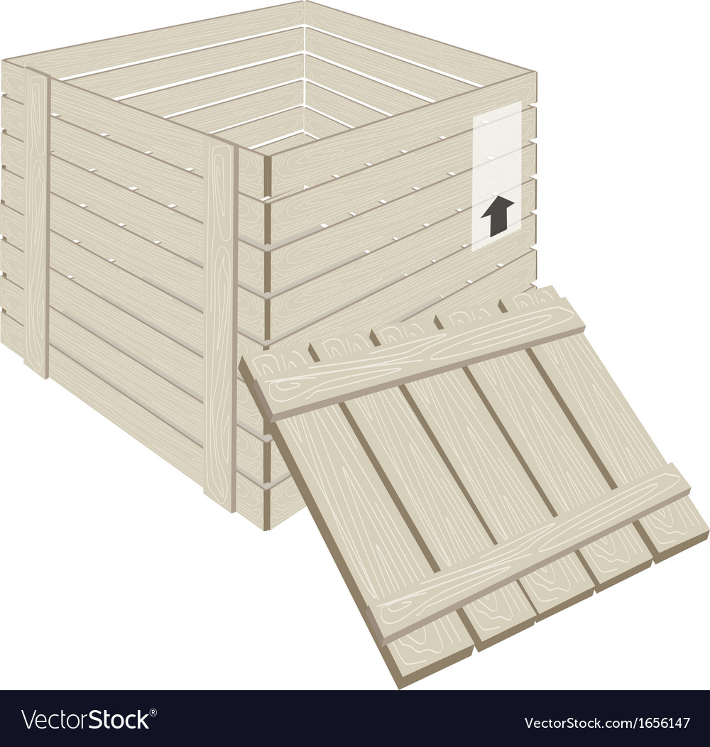 Open wooden cargo box on white background vector | Price: 1 Credit (USD $1)
