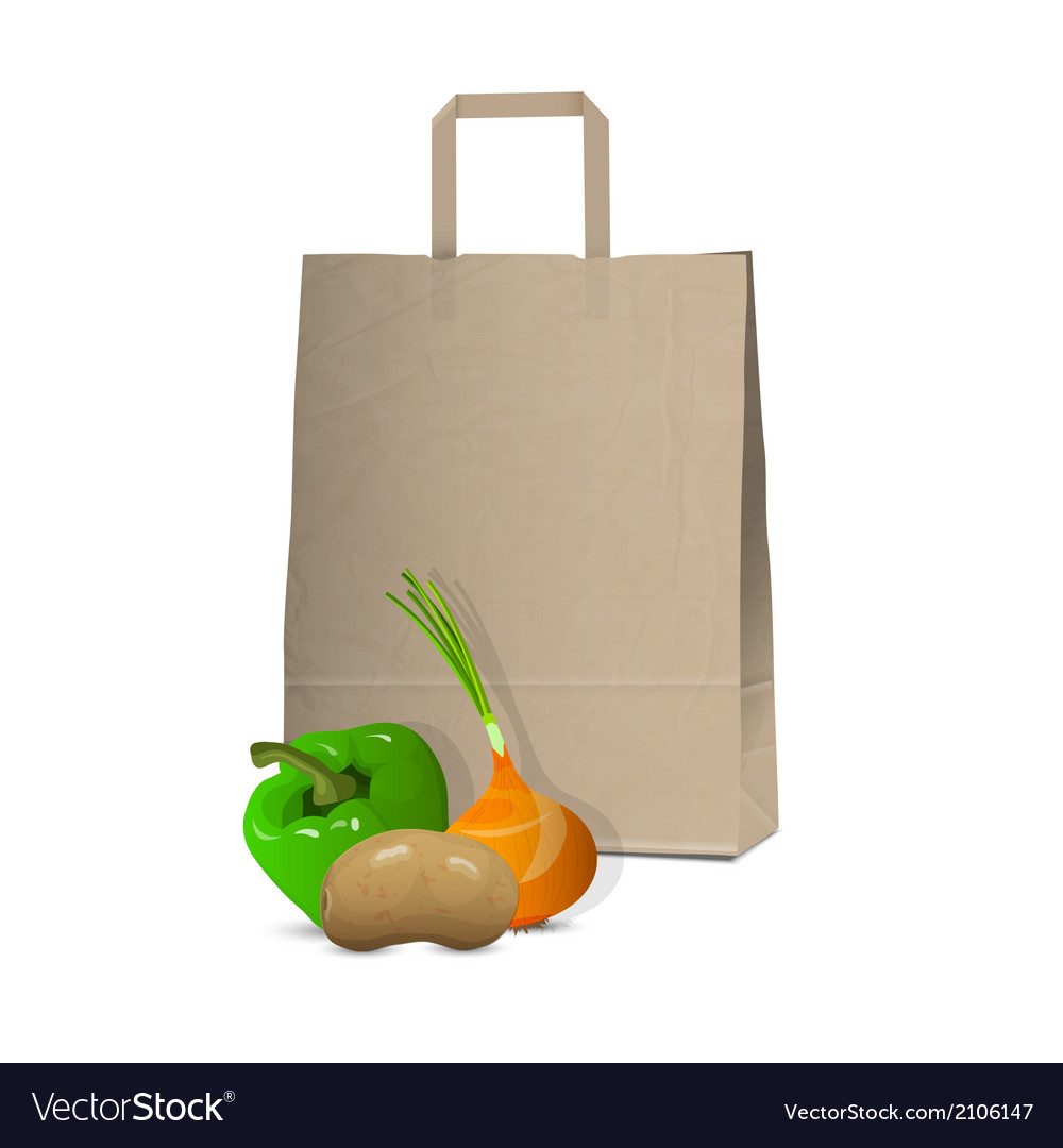 Paper bag and fresh vegetables vector | Price: 1 Credit (USD $1)