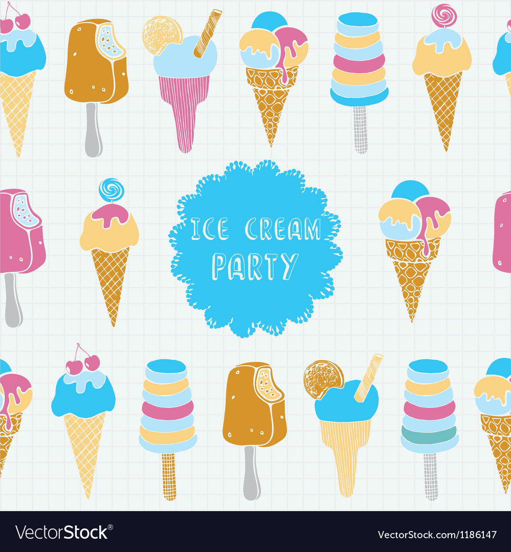 Retro of ice cream seamless pattern vector | Price: 1 Credit (USD $1)