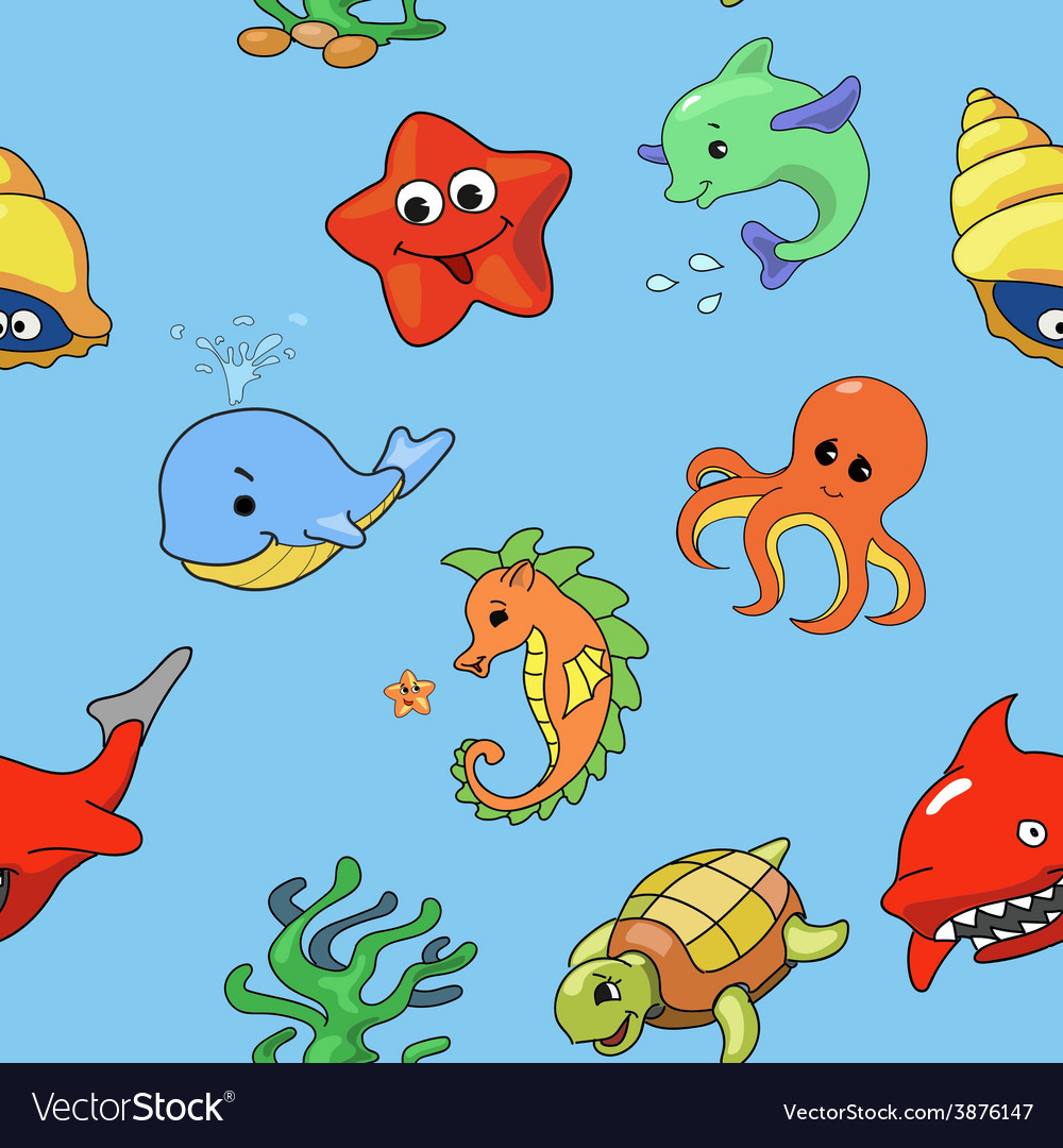 Seamless pattern of cartoon sea creatures vector | Price: 1 Credit (USD $1)