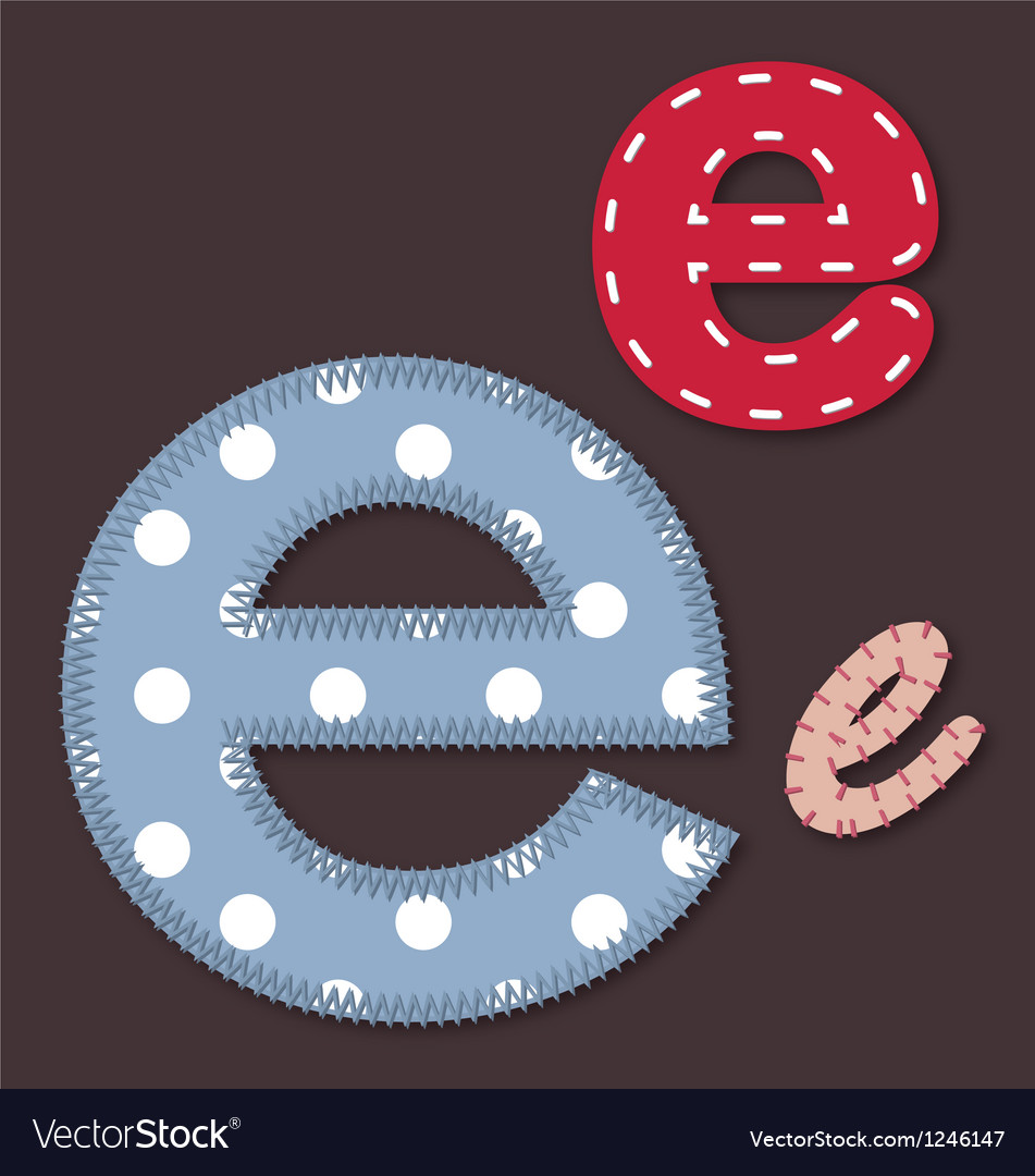 Set of stitched font - letter e vector | Price: 1 Credit (USD $1)