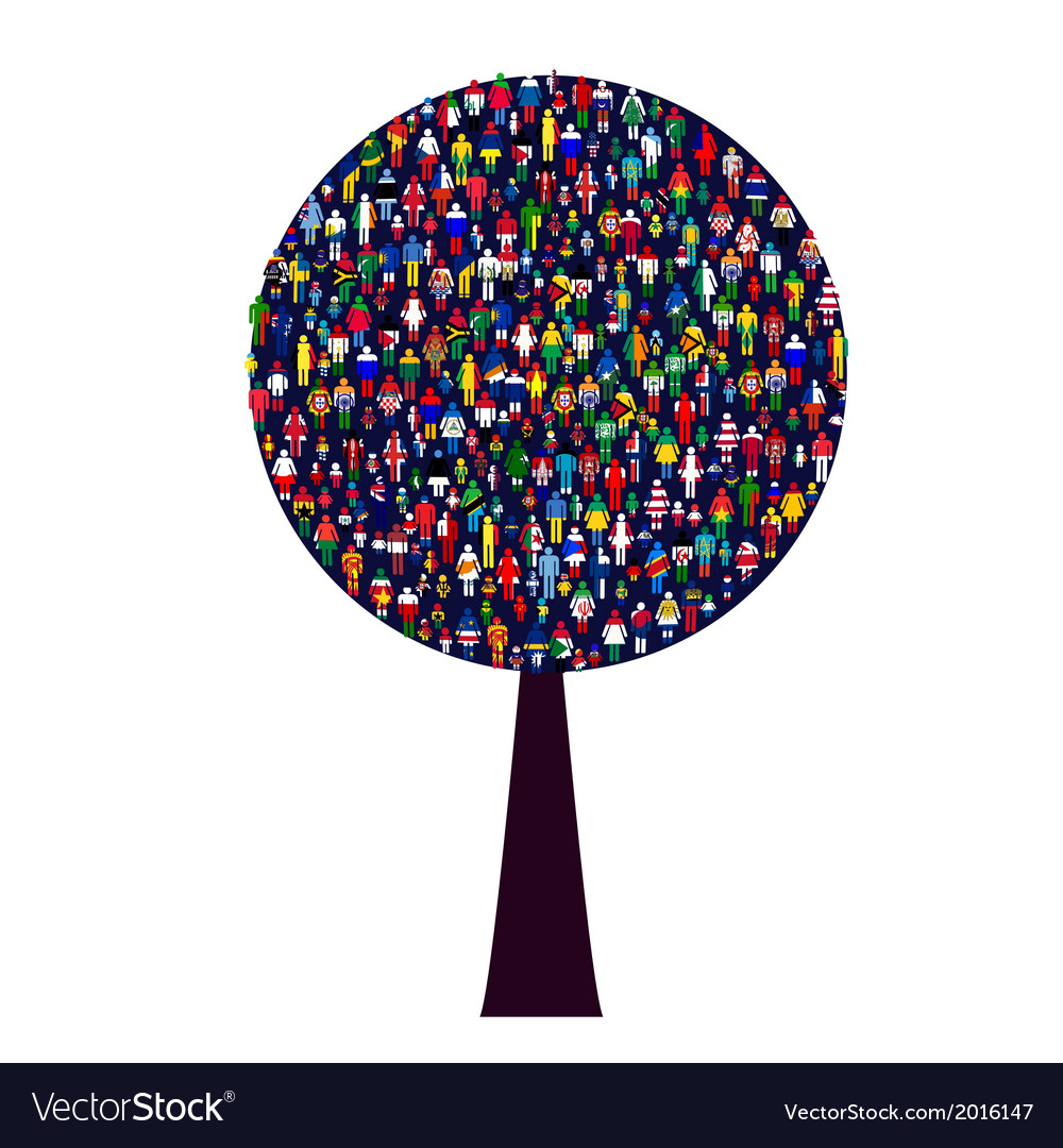 World people tree vector | Price: 1 Credit (USD $1)