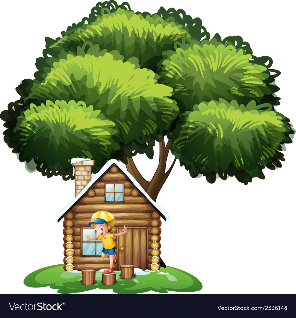 A boy playing outside the house vector | Price: 3 Credit (USD $3)