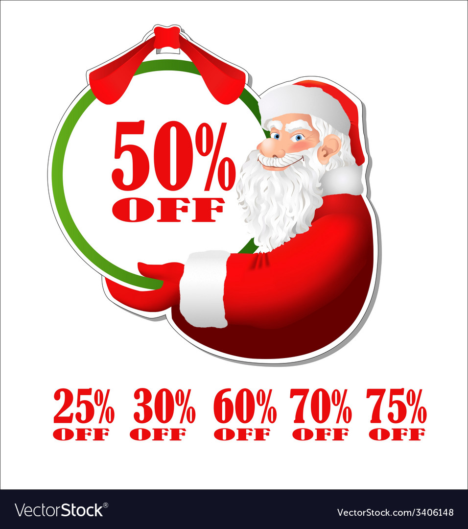 Discount sticker with santa claus vector | Price: 1 Credit (USD $1)