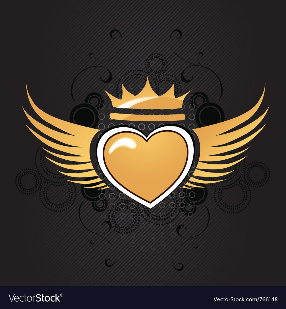 Golden heart vector | Price: 1 Credit (USD $1)