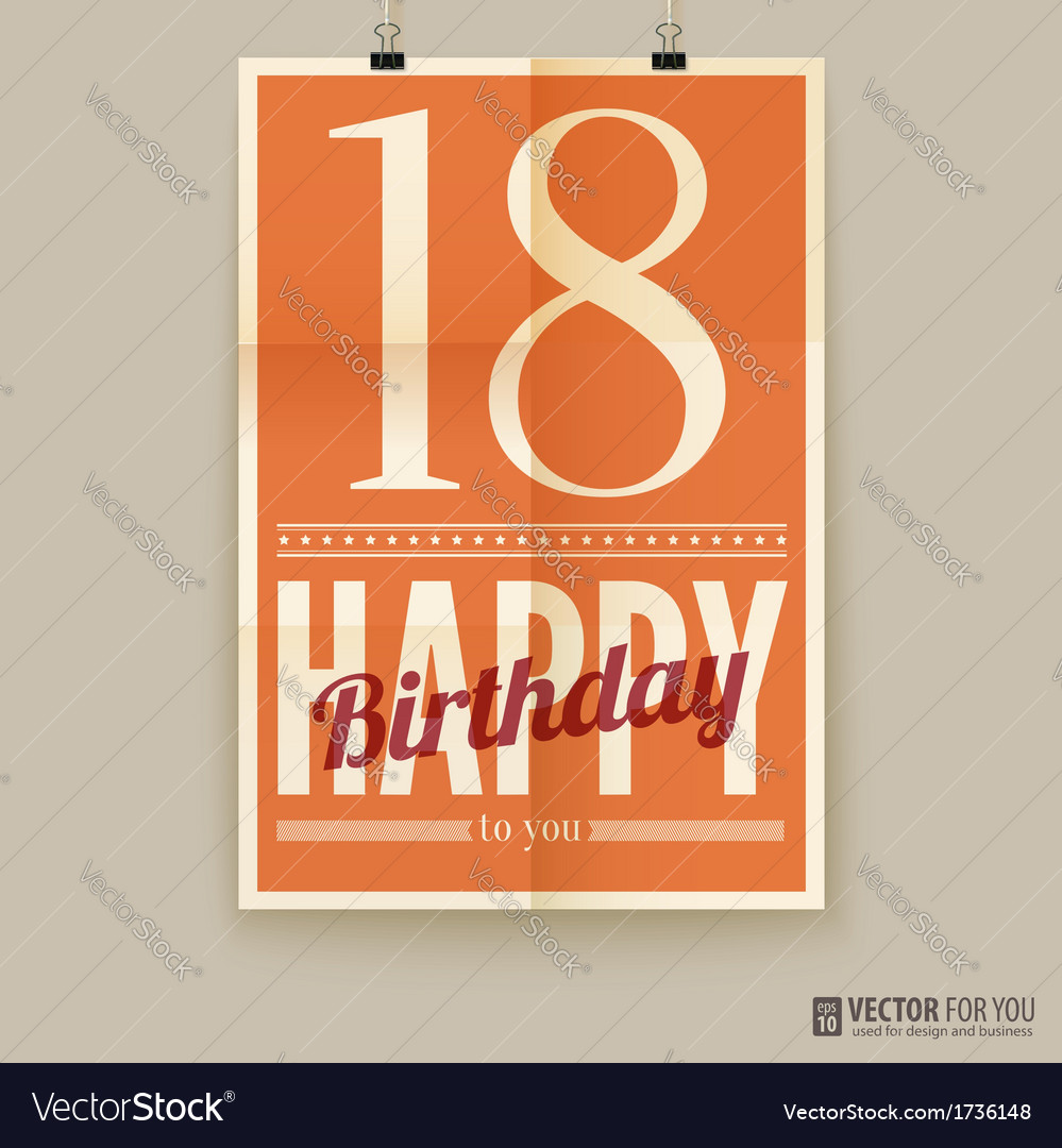 Happy birthday poster card eighteen years old vector | Price: 1 Credit (USD $1)