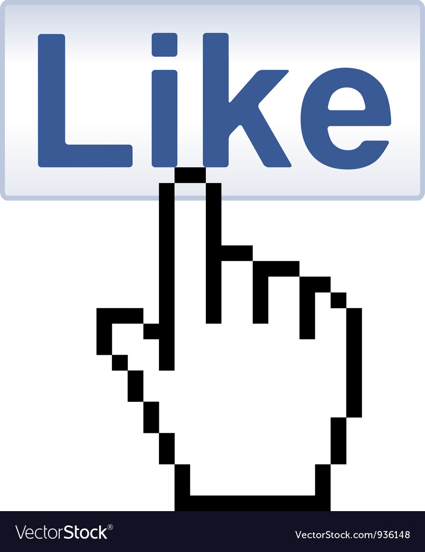 Like button and pixelated hand cursor vector | Price: 1 Credit (USD $1)