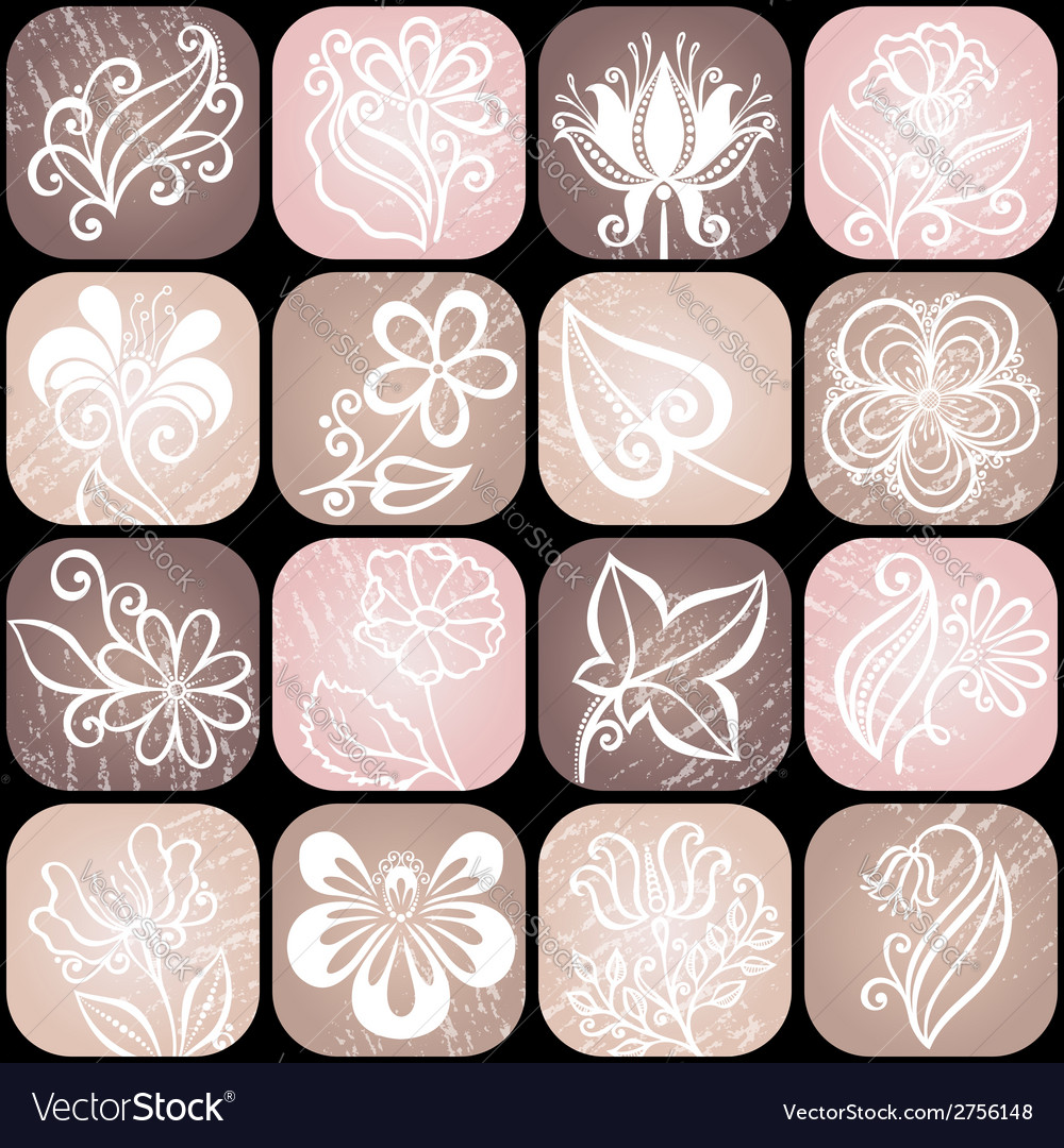 Set od floral icons vector | Price: 1 Credit (USD $1)