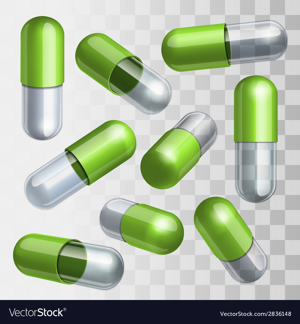 Set of green and transparent medical capsules in vector   Price: 1 Credit (USD $1)