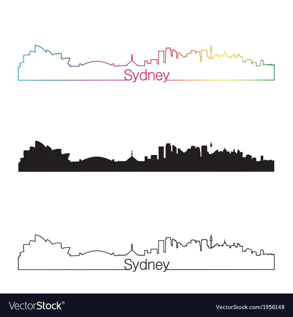 Sydney skyline linear style with rainbow vector