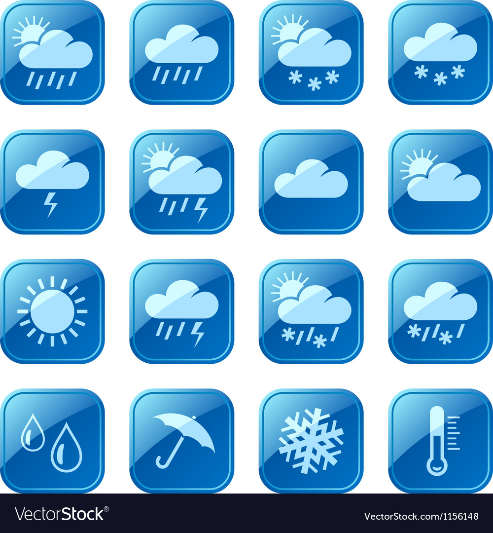 Weather blue icons vector | Price: 1 Credit (USD $1)