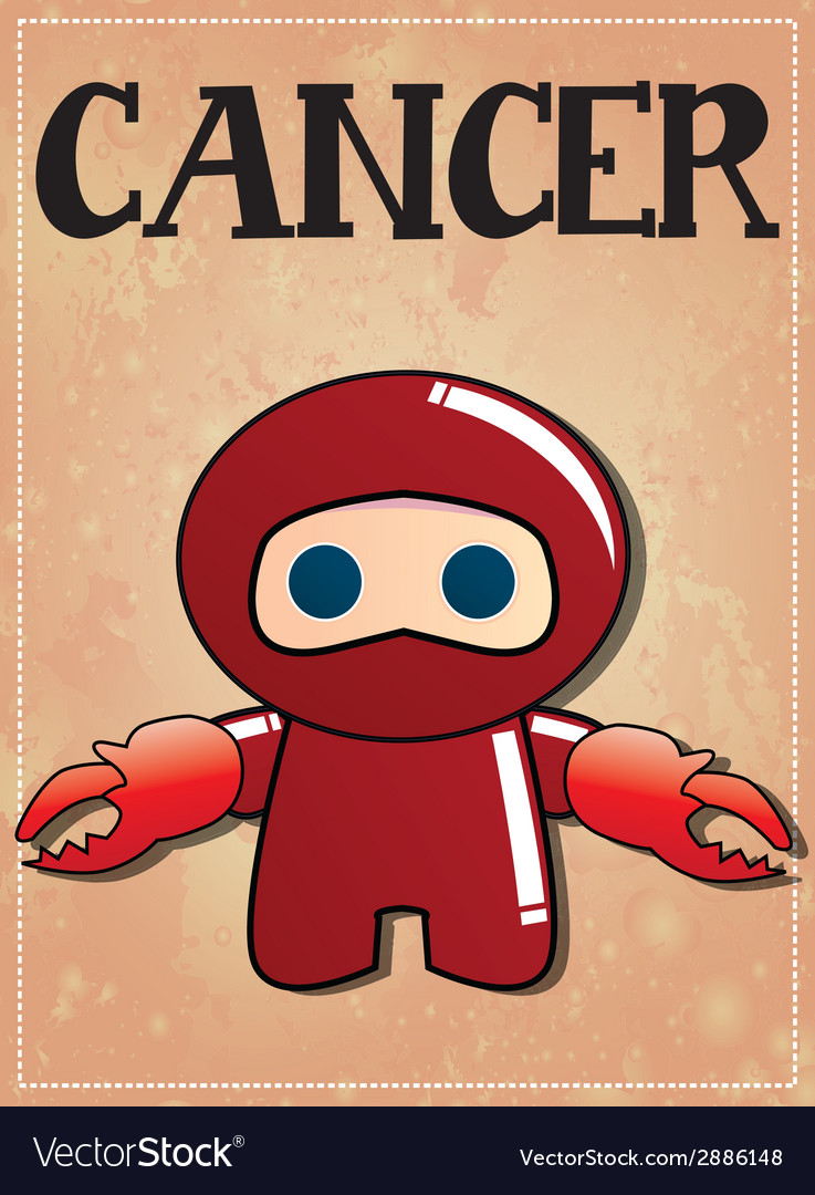 Zodiac sign cancer with cute black ninja character vector | Price: 1 Credit (USD $1)